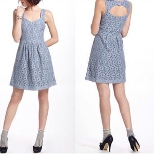 Anthropologie deletta lace fit and flair dress